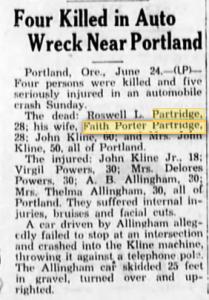 Grandma and Grandpa Partridge Car Crash and Death Story - Bend Bulletin